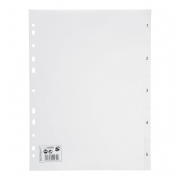 5 Star Office Polypropylene Numbered Index File Dividers